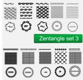 Zentangle Vector seamless patterns and brushes set  hand drawn frames Monochrome hipster prints backgrounds with linear doodles