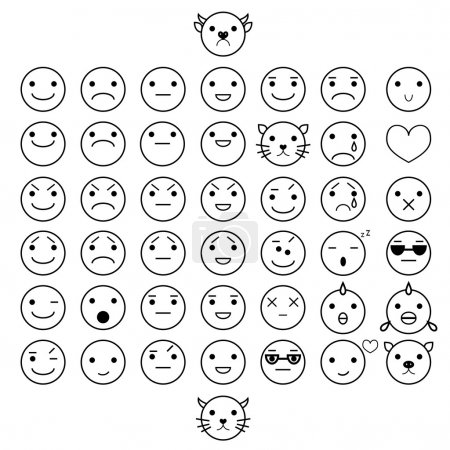 Smilies vector icons. Each grouped. Editable elements.
