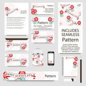 Nemzetközi női nap üdvözlés kártya beállítása, Art deco stílusú. Varrat nélküli mintát tartalmaz. Jó dokumentum szerkezete - rakott és csoportosítva