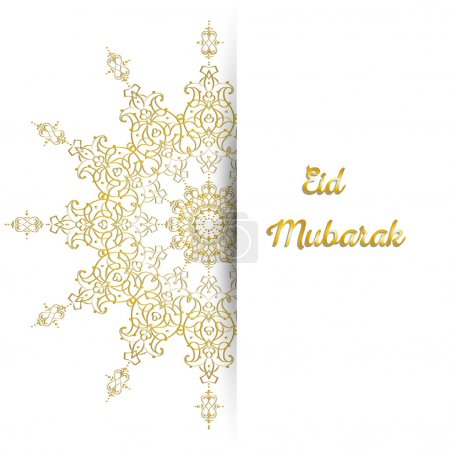 Illustration of Eid Mubarak greeting card with round ornate moroccam ornament.