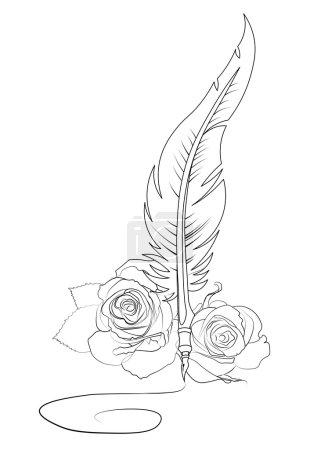 Illustration pour Modèle de tatouage signature plume et roses - image libre de droit