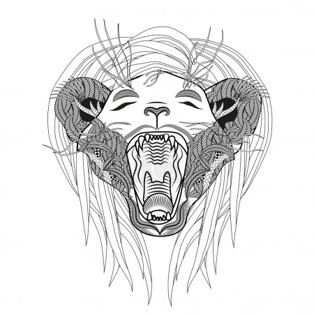 Hand drawn lion coloring page. Roaring zentangle lion.