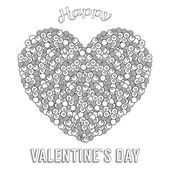 Coloring book for adult and older children Coloring page with zentangle heart pattern happy Valentines day greeting card