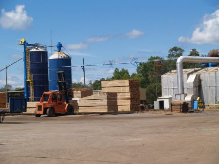 Outside view of a south Georgia lumber yard with blue silos and stacks of fresh cut green lumber curing in the sunshine with a forklift moving pallets.