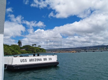 The sign for the USS Arizona Memorial in Pearl Harbor, Honolulu, Hawaii.