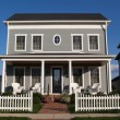 New two story vinyl home built to look like an old...