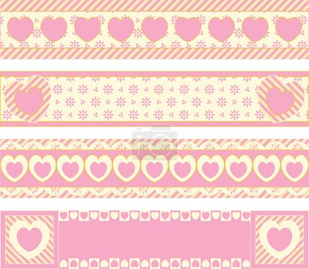 Illustration for Four vector borders with Victorian eyelet hearts and stripes in pink, gold & ecru. - Royalty Free Image