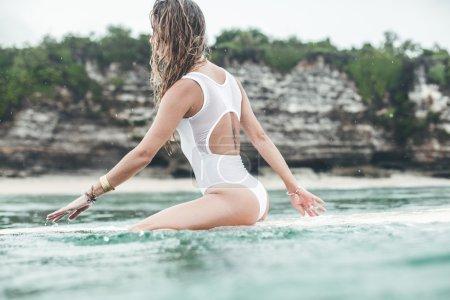 beautiful woman  in the ocean surf