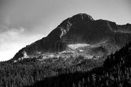 Photo for Black and white photo of the peaks of Mount Webb from Chilliwack lake provincial park in British Columbia, Canada - Royalty Free Image