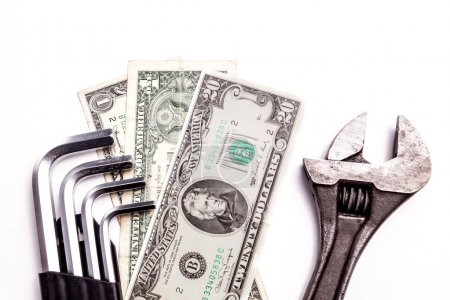 Work tools lying with Money