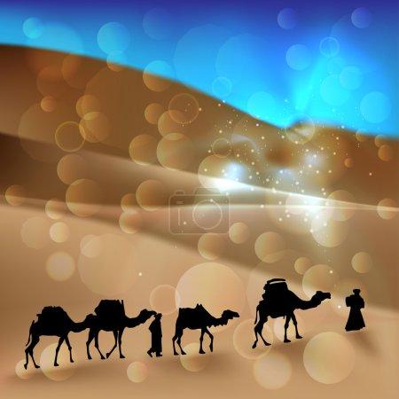 Arabian desert with camel caravan