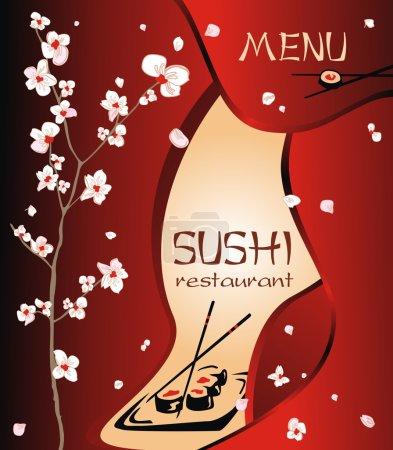 Illustration pour Menu restaurant tendance fond à tout design contemporain créatif. Sushi Bar Cuisine japonaise - image libre de droit