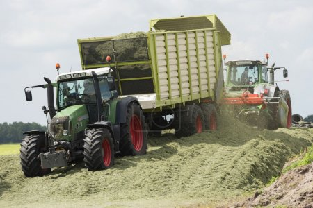 silage with two tractors
