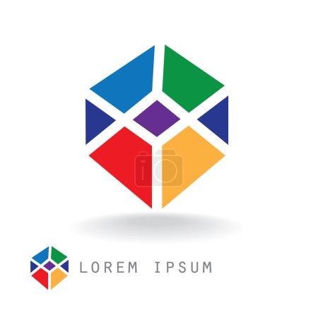 Illustration pour Illustration sur un cube abstraite minimaliste avec des visages colorés. peut servir comme un signe dans le logos, le symbole comme un modèle, etc.. - image libre de droit