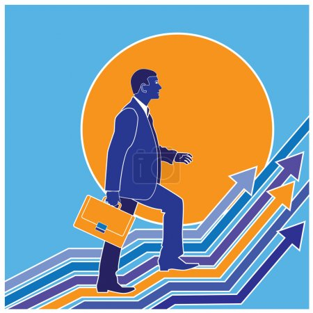 Illustration for Stylized vector illustration on the theme of progress, the path to success, conquering the peaks. stylized diagram of growth - Royalty Free Image