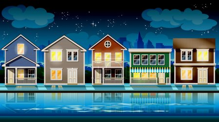 Illustration for Stylized vector illustration seamless horizontally on the theme comfortable cottages suburb at night. - Royalty Free Image