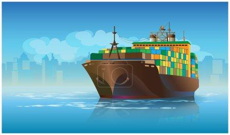 Ilustración de Stylized vector illustration on the theme of marine transportation. large cargo ship leaving the harbor with cargo - Imagen libre de derechos