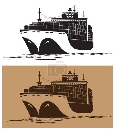 Illustration pour Illustration vectorielle stylisée sur le thème du transport maritime. grand cargo - image libre de droit