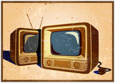 Stylized vector illustration of an old poster on the theme of old school electronics televisions telecommunications and broadcasting