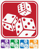 Stylized vector illustration on the theme of gambling several variants of color solution of icons dice