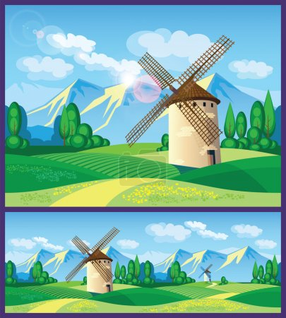 Illustration for Stylized vector illustration on the theme of European landscapes. windmills, fields of Provence, the Alps, etc. seamless horizontally, if necessary. - Royalty Free Image