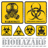 Set of signs warning of biological hazards