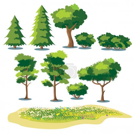 Set of stylized vector plants. shrubs, trees and f...