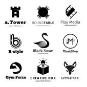 Set of vector minimalistic black and white logos