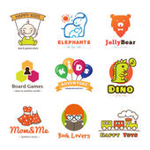 Set of vector children goods logos