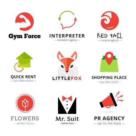Illustration pour Ensemble de logos vectoriels modernes et lumineux. Logo Fox, logo de magasin de fleurs, logo de haut-parleur, logo d'agence de traduction, logo de magasin de mode, logo de gymnase, logo de queue de renard - image libre de droit