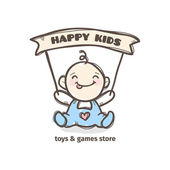 Vector cute baby logo in sketch style Toys and games store doodle logo in tender colors