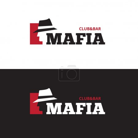 Vector minimalistic negative space man in hat logo. Mafia bar logo