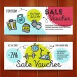 Vector set of discount coupons for sport accessori...