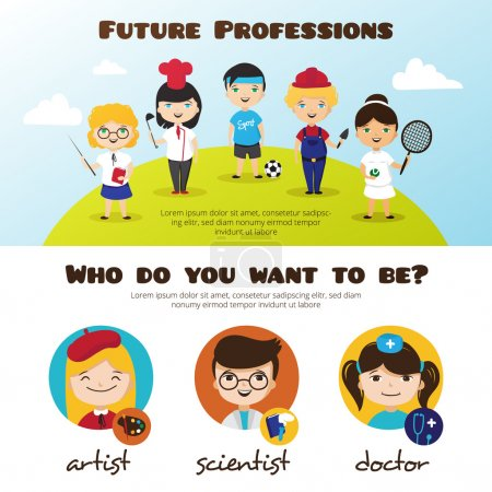 Vector banners of cute cartoon kids in different professions. Children professions design template