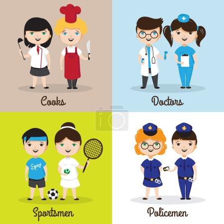 Photo pour Illustrations vectorielles d'enfants de dessins animés mignons dans différentes professions. Enfants futures professions modèles de conception - image libre de droit