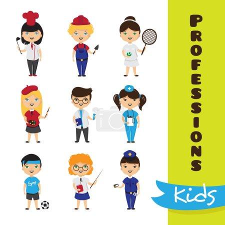 Photo pour Ensemble vectoriel d'enfants de dessins animés mignons dans différentes professions. Enfants futures professions collection - image libre de droit