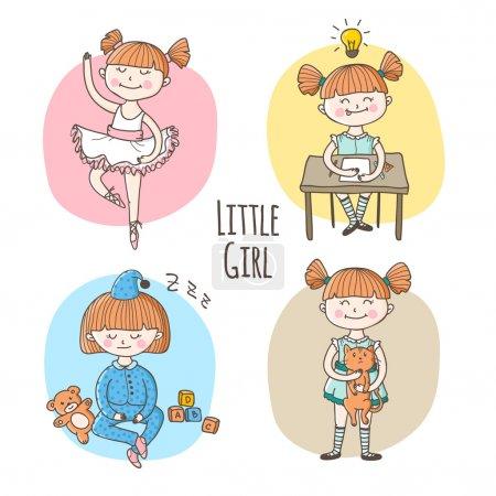 Illustration pour Collection vectorielle de mignonne petite fille dans une situation différente. Ensemble de style de vie enfants - image libre de droit