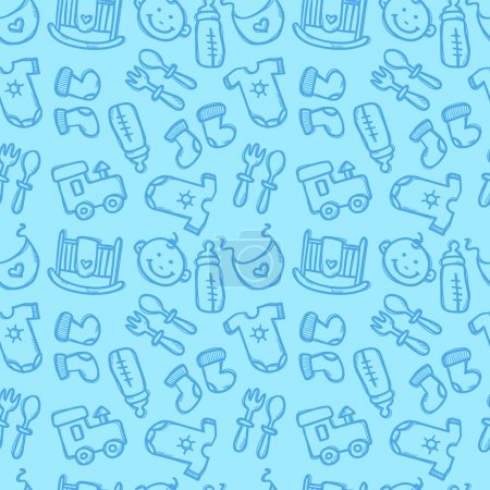 Photo pour Modèle vectoriel sans couture avec des objets bébé. Vêtements et accessoires nouveau-nés fond sans couture dans le style doodle à la mode - image libre de droit
