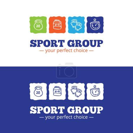 Vector trendy sport equipment shop logo in doodl style