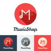 Vector flat modern minimalistic music shop or studio logo