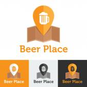 Vector flat beer shop or bar logo set