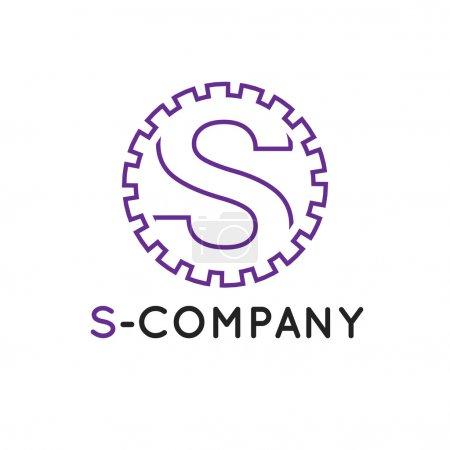 Vector minimalistic outline violet S letter logotype. Cogwheel logo