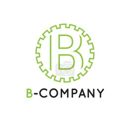 Vector minimalistic outline green B letter logotype. Cogwheel logo