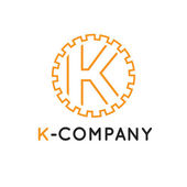 Vector minimalistic outline orange K letter logotype Cogwheel logo