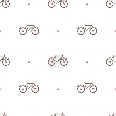 Vector outline cute bicycles seamless pattern