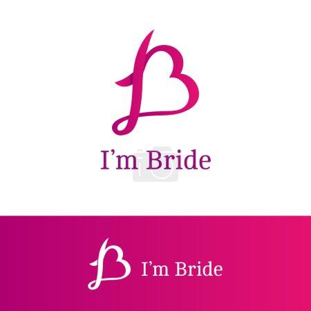 Vector ribbon B letter heart sign. Monogram logotype. Trendy logo in overlapping technique