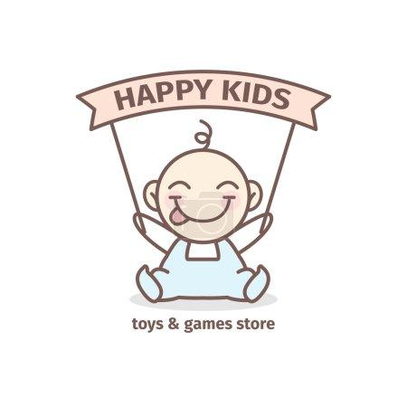 Illustration pour Logotype bébé vectoriel moderne. Jouets et jeux magasin logo dans des couleurs tendres - image libre de droit