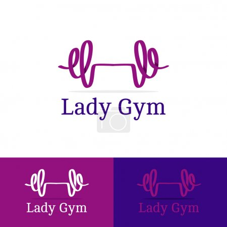 Vector ribbon dumb-bell lady gym logotype. Modern logo in overlapping technique