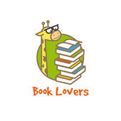 Vektor vicces zsiráf emblémát. Book store logo