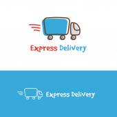 Vector cartoon truck logotype Express delivery logo